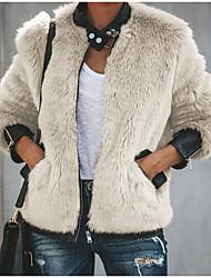 Недорогие -Жен. Повседневные Классический Обычная Искусственное меховое пальто, Однотонный Круглый вырез Длинный рукав Искусственный мех Бежевый