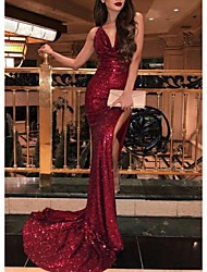 cheap -Mermaid / Trumpet Plunging Neck Sweep / Brush Train Sequined Open Back Formal Evening Dress 2020 with Sequin / Split Front