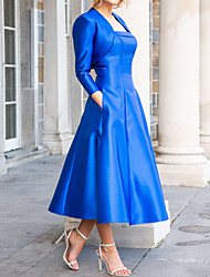 cheap -A-Line / Two Piece Square Neck Ankle Length Satin 3/4 Length Sleeve Vintage / Plus Size / Elegant Mother of the Bride Dress with Ruching 2020