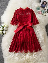 cheap -Kids Girls' Solid Colored Lace Trims 3/4 Length Sleeve Knee-length Dress Wine