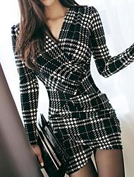 cheap -Women's Mini White Black Dress Elegant Sheath Plaid V Neck S M Slim