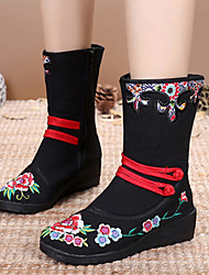 cheap -Women's Boots Wedge Heel Round Toe Satin Flower / Buckle Canvas Mid-Calf Boots Vintage / Chinoiserie Spring &  Fall / Fall & Winter Black / Red