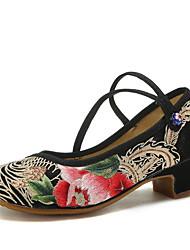 cheap -Women's Modern Shoes / Ballroom Shoes Canvas Heel Flat Heel Dance Shoes Black / Practice
