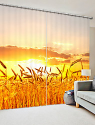 cheap -Golden Yellow Wheat Field Digital Printing 3D Curtain Shading Curtain High Precision Black Silk Fabric High Quality Curtain