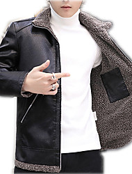 cheap -Men's Daily / Work Winter Regular Leather Jacket, Solid Colored Turndown Long Sleeve PU Black / Brown