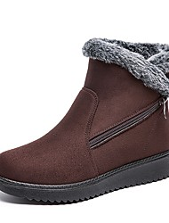 cheap -Women's Boots Flat Heel Round Toe Pom-pom Suede Booties / Ankle Boots Casual / Minimalism Winter Black / Brown / Burgundy