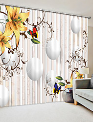 cheap -Creative Yellow Lily Digital Printing 3D Curtain Shading Curtain Hgh Precision Black Silk Fabric High Quality Curtain