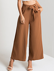 cheap -Women's Street chic Chinos Pants - Solid Colored Black Brown S M L