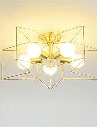 cheap -5-Light 5-Head Nordic Style Five-pointed star Design Copper Ceiling Lamp American Semi Flush Mount Living Room Dining Room Bedroom Light