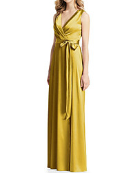 cheap -A-Line Plunging Neck Floor Length Satin Bridesmaid Dress with Bow(s) / Pleats