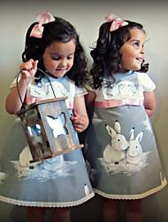 abordables -bébé Fille Actif / Basique Rabbit Imprimé Imprimé Manches Courtes Robe Gris
