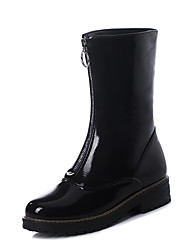 cheap -Women's Boots Chunky Heel Round Toe Patent Leather / PU Mid-Calf Boots Vintage / Minimalism Spring &  Fall / Fall & Winter Black / White