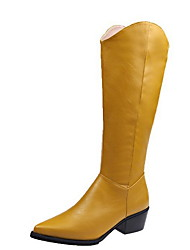cheap -Women's Boots Knee High Boots Flat Heel Pointed Toe PU Knee High Boots Winter Black / Yellow