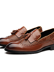 cheap -Men's Formal Shoes Leather Spring & Summer / Fall & Winter Vintage / British Loafers & Slip-Ons Non-slipping Black / Dark Brown / Red / Tassel / Wedding / Party & Evening