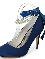 cheap -Women's Wedding Shoes Stiletto Heel Round Toe Imitation Pearl / Ribbon Tie Satin Minimalism Fall / Spring & Summer Black / White / Purple / Party & Evening