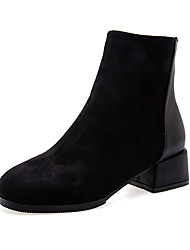 cheap -Women's Boots Chunky Heel Round Toe Suede Fall Khaki / Black
