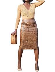abordables -Femme Basique Usage quotidien Moulante Jupes - Couleur Pleine Noir Marron M L XL