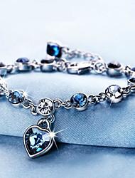 cheap -Women's Cubic Zirconia Chain Bracelet Geometrical Heart Fashion Alloy Bracelet Jewelry White / Rainbow For Gift Daily