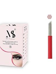 abordables -50pcs coloration rapide des aiguilles de microblading 19r aiguilles de maquillage permanentes rondes pour tatouage rondes pour sourcils