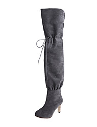 cheap -Women's Boots Rain Boots Stiletto Heel Pointed Toe Faux Fur Thigh-high Boots Classic / Vintage Fall & Winter Black / Gray