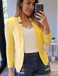cheap -Women's Blazer, Solid Colored Peaked Lapel Polyester Black / White / Yellow