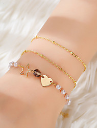 cheap -3pcs Women's Vintage Bracelet Earrings / Bracelet Layered Heart Star Simple Classic Fashion Cute Elegant Imitation Pearl Bracelet Jewelry Gold For Daily School Street Holiday Festival