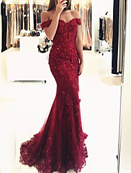 cheap -Mermaid / Trumpet Off Shoulder Sweep / Brush Train Lace Open Back Formal Evening Dress 2020 with