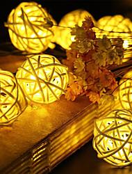 cheap -1.5m String Lights 10 LEDs Warm White RGB White Blue Creative Decorative Christmas Rattan Ball Light Night Light Wedding AA Batteries Powered 1 set