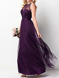 cheap -A-Line Halter Neck Floor Length Chiffon Bridesmaid Dress with
