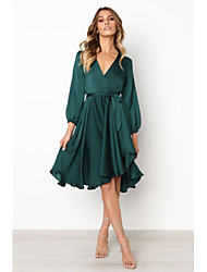 cheap -women's a-line dress knee length dress - long sleeve solid color lace up patchwork fall v neck elegant slim 2020 wine green s m l xl