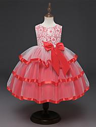 cheap -Kids Girls' Solid Colored Mesh Sleeveless Midi Dress Blushing Pink