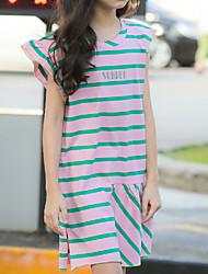 cheap -Kids Girls' Basic Striped Sleeveless Above Knee Dress Blushing Pink