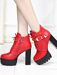 cheap -Women's Boots Chunky Heel Round Toe Faux Fur Spring / Fall & Winter Black / Red / Party & Evening