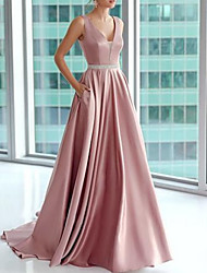 cheap -A-Line V Neck Floor Length Satin Beautiful Back Prom / Formal Evening Dress with Appliques 2020