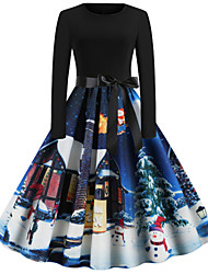 cheap -Women's Snowman Sheath Dress - Long Sleeve Snowflake Print Basic Christmas Party Festival Blue Red S M L XL XXL