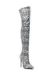 cheap -Women's Boots Over-The-Knee Boots Stiletto Heel Pointed Toe Elastic Fabric Thigh-high Boots Fall & Winter Black / White