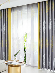 cheap -Modern Printed Leaves Curtains for Living Room Bedroom Kitchen Two Panels