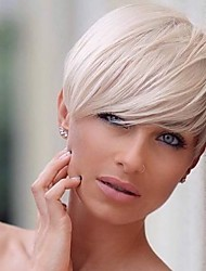 cheap -Human Hair Wig Straight Pixie Cut Short Hairstyles 2019 Straight Side Part Machine Made Women's Black#1B Silver Medium Auburn 8 inch