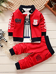 cheap -Baby Boys' Basic White / Red Striped / Print Print Long Sleeve Long Long Clothing Set Red