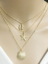 cheap -Women's Pendant Necklace Necklace Layered Starfish Shell Vintage Trendy Ethnic Fashion Chrome Gold 50 cm Necklace Jewelry 1pc For Gift Daily School Festival / Layered Necklace
