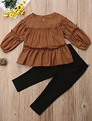 cheap -Toddler Girls' Active Solid Colored Long Sleeve Clothing Set Brown