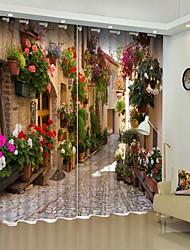 abordables -Style européen ville fleur impression numérique 3d rideau rideau d'ombrage haute précision noir tissu de soie haute qualité rideau