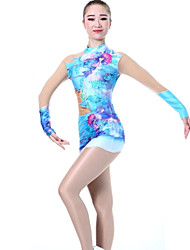 cheap -Rhythmic Gymnastics Leotards Artistic Gymnastics Leotards Women's Girls' Leotard Blue Spandex High Elasticity Handmade Print Shading Long Sleeve Competition Ballet Dance Ice Skating Rhythmic
