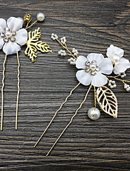 cheap -Alloy Hair Stick / Hair Accessory with Pearls / Crystal / Rhinestone / Flower One Pair × 2 Wedding / Daily Wear Headpiece