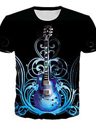 cheap -Men's Daily Club Basic / Rock T-shirt - Geometric / 3D / Graphic Print Black