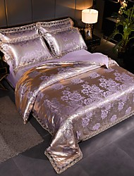 cheap -Duvet Cover Sets Ultra Soft Viscose Jacquard/ Stripes Ripples Polyester/ Luxury Lace/ 4 Piece Bedding Sets