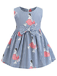 cheap -Kids Girls' Sweet Cute Blue & White Striped Bow Print Sleeveless Above Knee Dress Light Blue