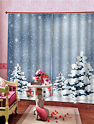 Недорогие -3d рождество снег принты украшения дома черный шелк 100% затемнения гостиная спальня шторы шторы