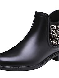 cheap -Women's Boots Low Heel Round Toe PVC Spring &  Fall Black
