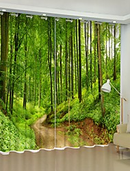 abordables -couloir dans les bois impression numérique 3d rideau occultation rideau haute précision tissu de soie noire de haute qualité première classe occultation chambre salon rideau